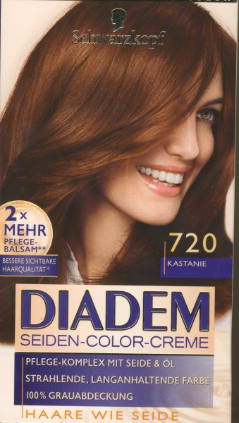 Schwarzkopf Diadem Seiden-Color-Creme, 720 Kastanie Stufe 3, 3er Pack