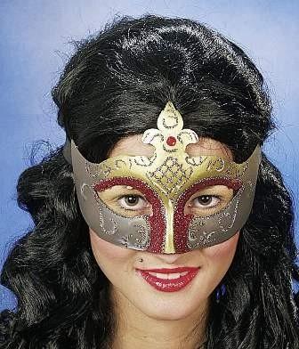 Faschingsmaske Venedig, grün-gold, lila-gold, rot-gold, silber-gold. silber