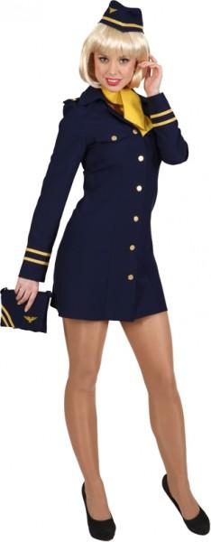 Stewardess, blau (Kleid, Haube,Tuch)