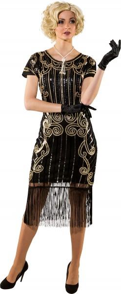 Fasching Kostüm Damen Charleston 20er Jahre Kleid schwarz-gold