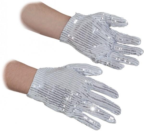 Faschingszubehör, Pailletten-Handschuhe, silber