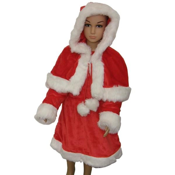 Weihnachten Mantel Kinder Kleid mit Cape Gr. 116/128