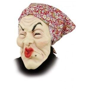 Hexen-Maske: alte Frau, rotes Kopftuch für Erwachsene