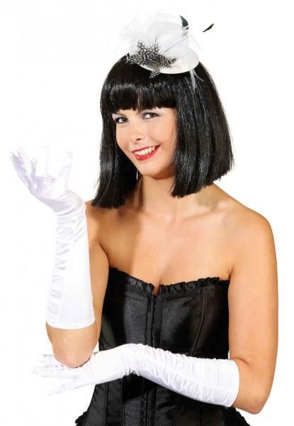 Satin-Handschuhe gerafft, weiß