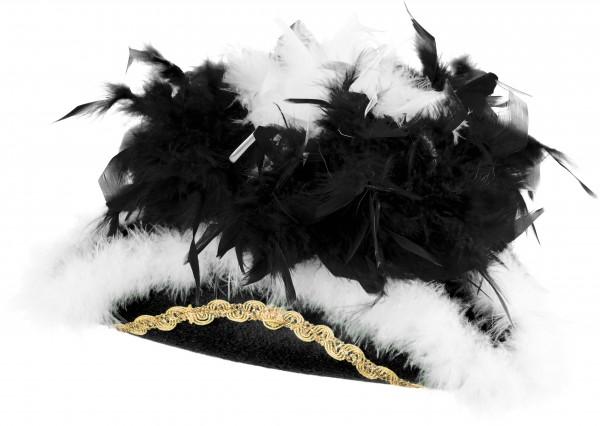 Faschingshut Damen/Kinder Funkenhut schwarz mit schwarz/weißer Boa
