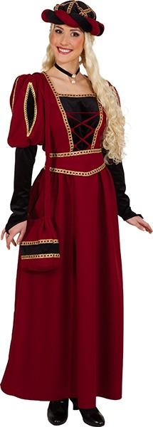 Hofdame Otilia, weinrot (Kleid, Gürtel, Haube) - Größe: 34/36 - 46/48