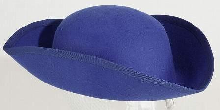 Gardehut: Dreispitz, blau ( Rohling ) Wollfilz
