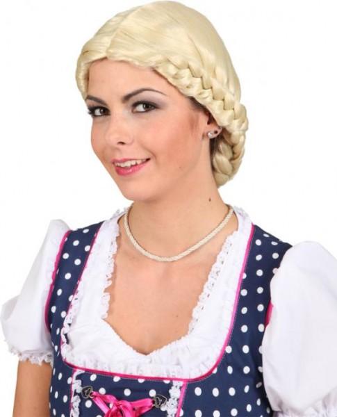 Faschingsperücke bayrische Zopffrisur Perücke Antonia, blond