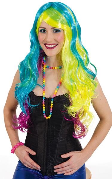 Perücke Rainbow, gelb-türkis