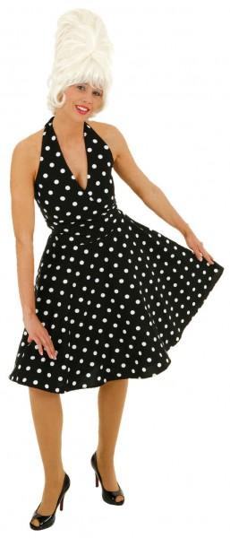 Kleid 70er Jahre schwarz-weiß gepunktet - Größe: 36 - 44
