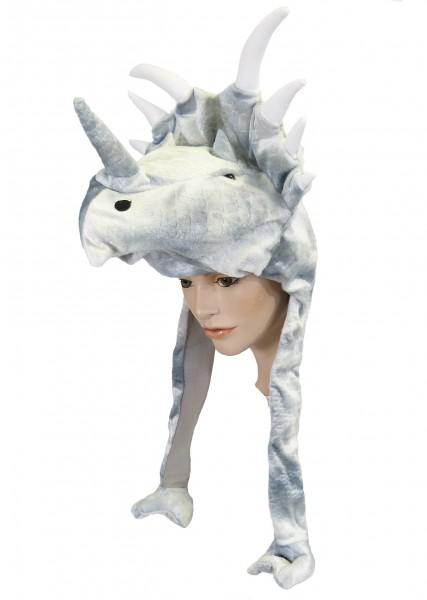 Plüsch Mütze Dinosaurier Triceratops (inclusive Bommeln) ca. 55 cm