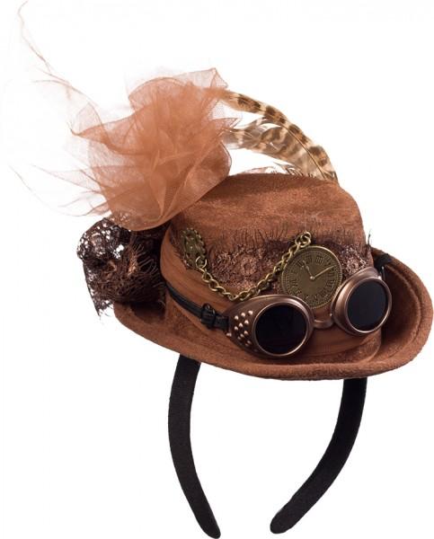 Fasching Minihut Damen Steampunk in schwarz oder braun
