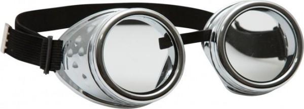 Schweißerbrille, silber, Brille mit Gummiband