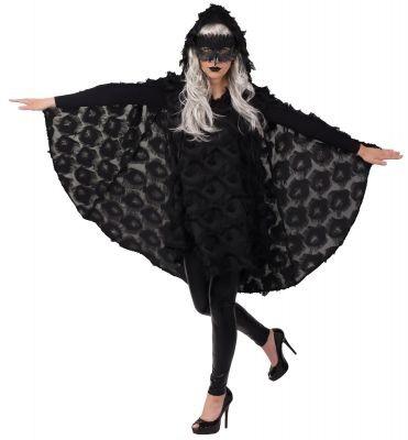 Fasching Kostüm Damen Cape-Kleid Rabe