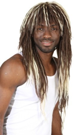 Perücke Afro Dreads, blond-braun