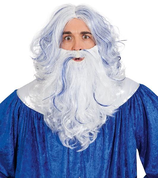 Fasching Perücke mit Bart Neptun blau-weiß