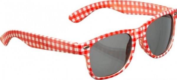 Brille rot-weiß kariert