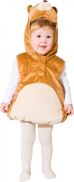 Fasching Kostüm Kinder Bär Weste - Weste mit Kapuze Gr. 104