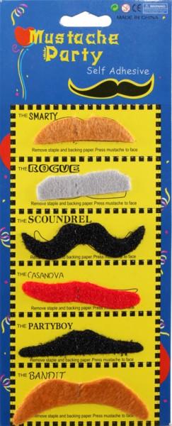 Bartkarte, schwarz / braun / rot / grau (6 Stück)