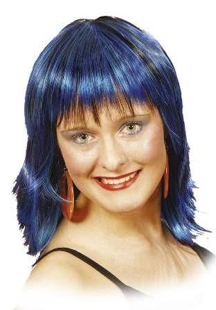 Perücke Mandy, blau-meliert