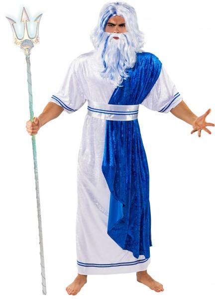 Fasching Kostüm Herren Wassermann weiß/blau