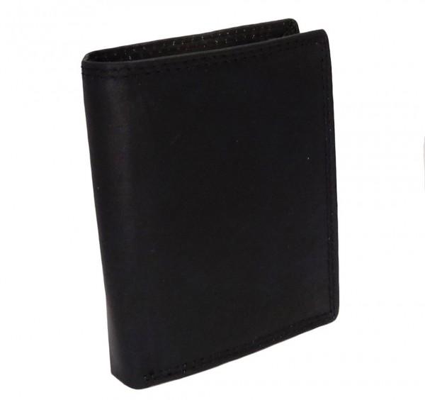 Herren Portemonnaie Geldbörse schwarz mit 19 Fächern - Echt Leder