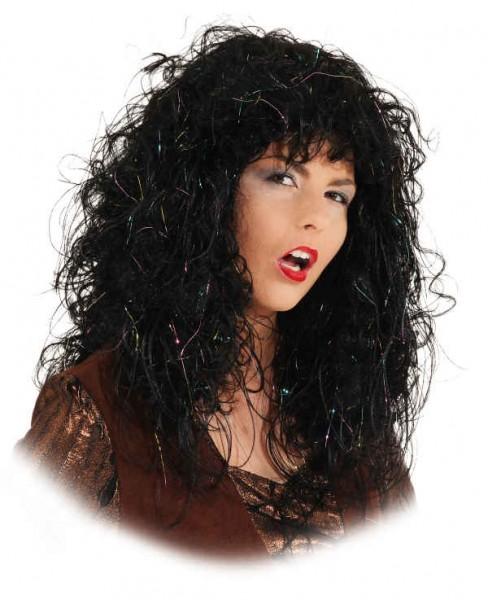 Perücke Crazy Witch, schwarz, braun, grau, mittelblond