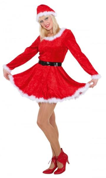 Weihnachtskostüm Damen Nikolaus-Kostüm rot (Kleid, Mütze) - Größe: 36 - 44