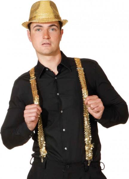 Paillettenhosenträger, gold