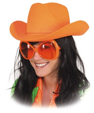 Faschingshut Cowboyhut neon-orange