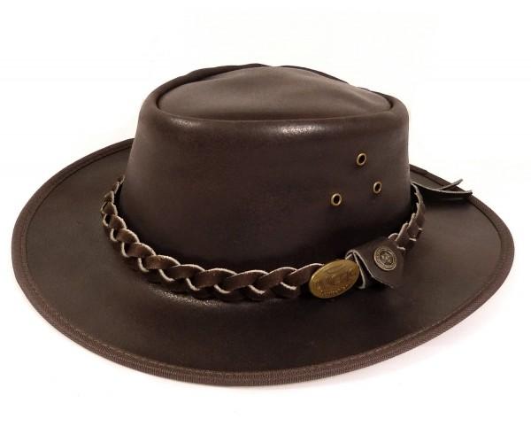 Echt Leder Outdoorhut Cowboyhut Westernhut Braun - Split Leather
