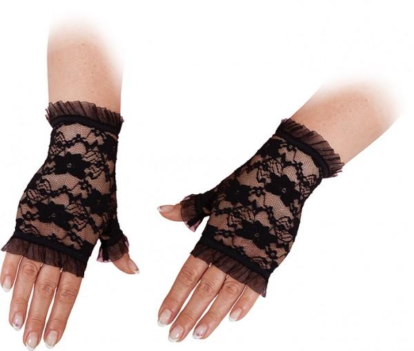 Faschingszubehör Damen Spitzen-Handschuhe schwarz fingerlos