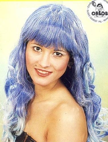 Faschingsperücke Damen: Casandra blau-dunkelblau