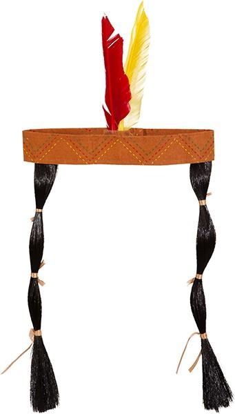 Faschingszubehör Indianer-Kopfband mit Feder und Zöpfen