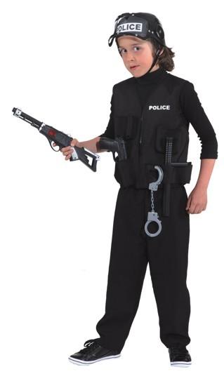 Faschingskostüm, Policeweste, schwarz - Größe: 116/128 - 140/152