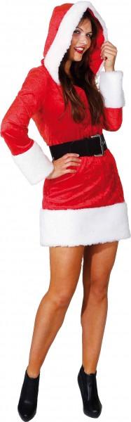 Miss Christmas (Kleid mit Kapuze, Gürtel) - Größe: 34 - 42