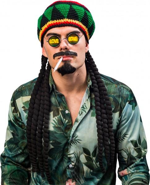 Fasching Perücke Afro Dreadlocks mit gestickter Mütze