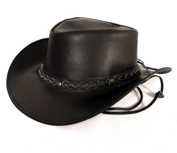 Echt Leder Outback Cowboyhut Westernhut Schwarz - Split Leather