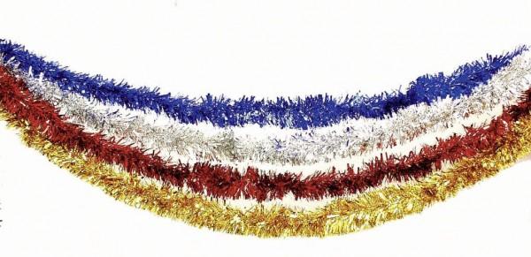 Foliengirlande 3 m - blau, rot, gold, silber