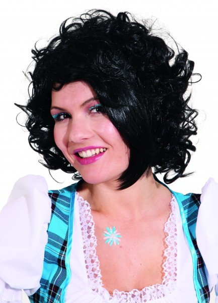 Faschingsperücke Damen Ashley, schwarz mit Schrägpony