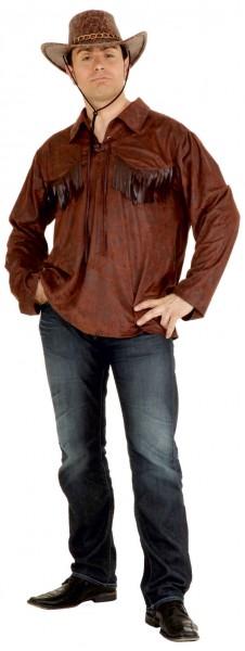 Westernhemd, braun - Größe: 46/48 - 54/56