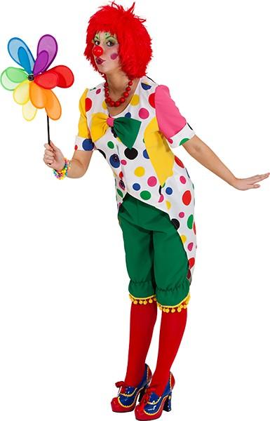 Fasching Kostüm Damen Frack Clown gepunktet