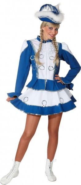 Funkenkostüm, blau-weiß mit Silberborte (Jacke und Rock) - Größe: 36 - 48