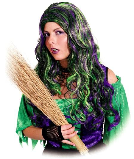 Faschingsperücke Damen Hexe Megan, lila/grün gelockt