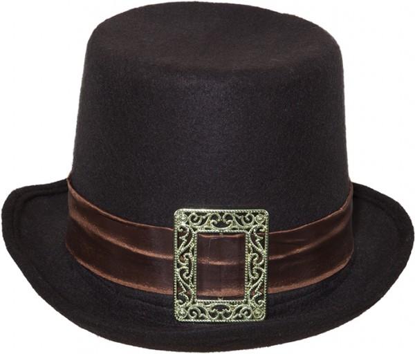 Fasching Hut Zylinder schwarz mit. braunem Band und Schnalle