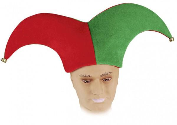 Faschingshut: Harlekin mit Glöckchen - 2 farbig: rot + grün