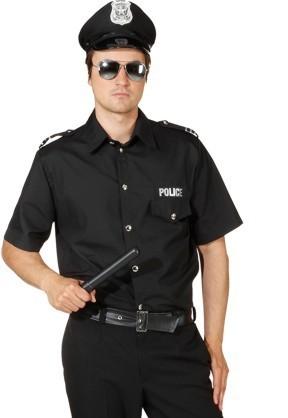 Police Hemd, schwarz - Größe: 50/52 - 58/60