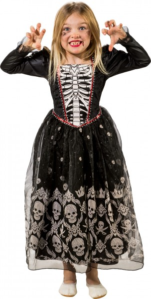 Fasching Halloween Kinder Kleid Totenkopf