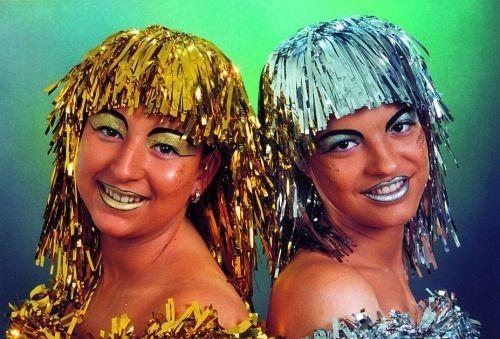 Faschingsperücke Damen: Disco 2000 silber + gold