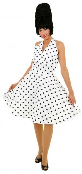 Kleid 70er Jahre weiß-schwarz gepunktet - Größe: 36 - 44